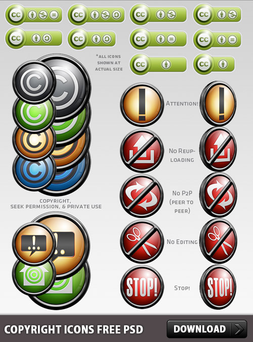 Copyright Icons Free PSD Web Resources, Resources, Psd Templates, PSD Sources, psd resources, PSD images, psd free download, psd free, PSD file, psd download, PSD, License, Layered PSDs, Icons, Icon PSD, Free PSD, Free Icons, Free Icon, download psd, download free psd, Creative License, Creative Commons, Copyright, Buttons, Anit-Theft,
