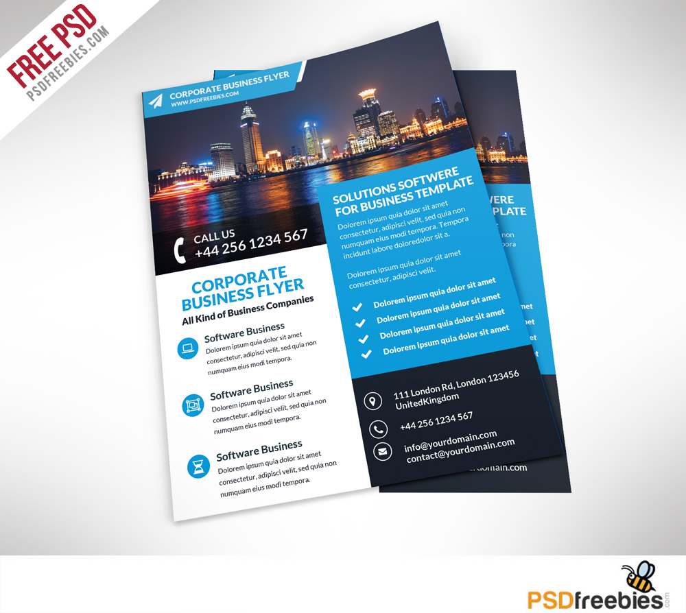 Corporate business flyer free psd template download for Psd brochure templates free download