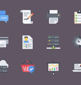 Corporate Flat Icon Set Free PSD