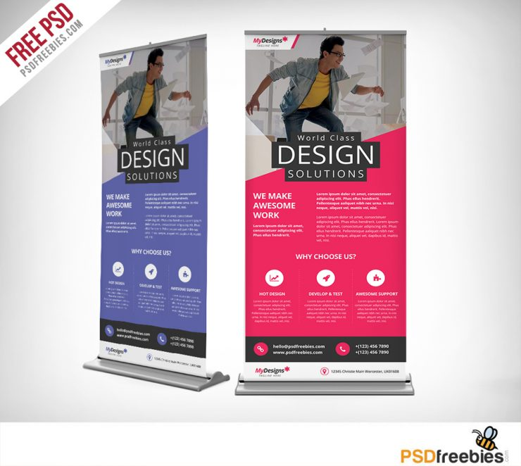 Corporate Outdoor Roll-Up Banner Free PSD