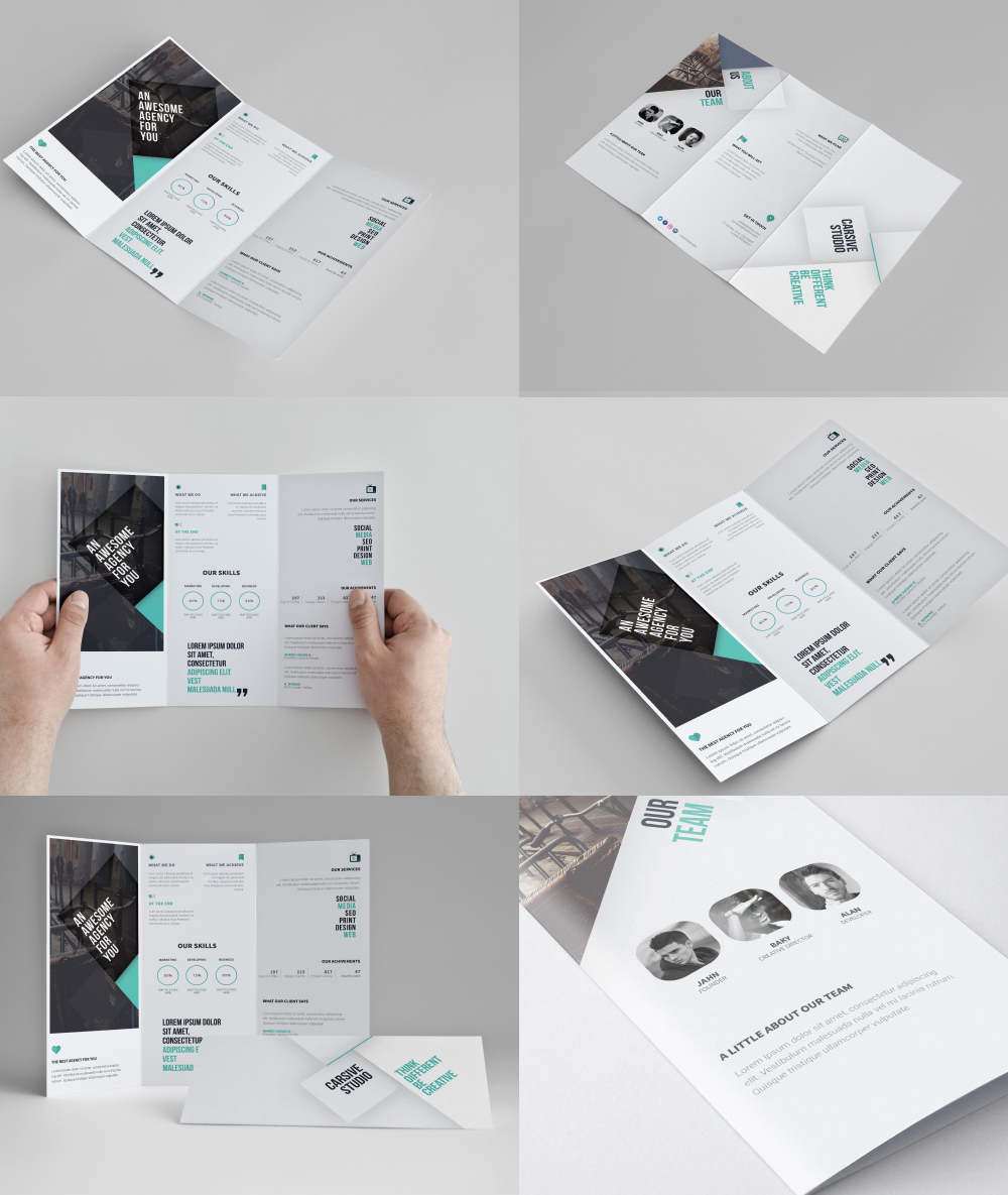 Corporate tri fold brochure template free psd download for Brochure folding templates