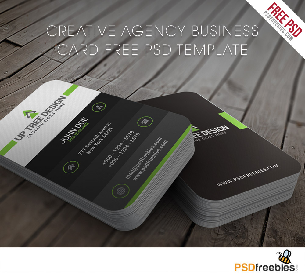 Creative Agency Business Card Free PSD Template Download - Business card templates psd free download