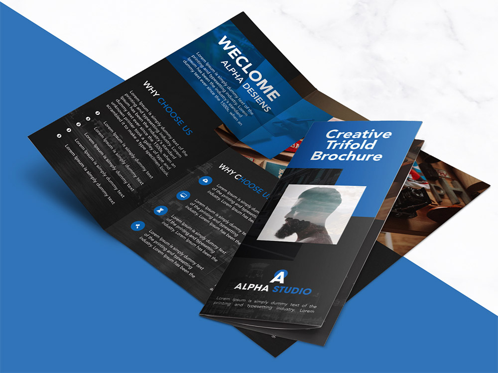Creative agency trifold brochure free psd template for Brochure photoshop templates