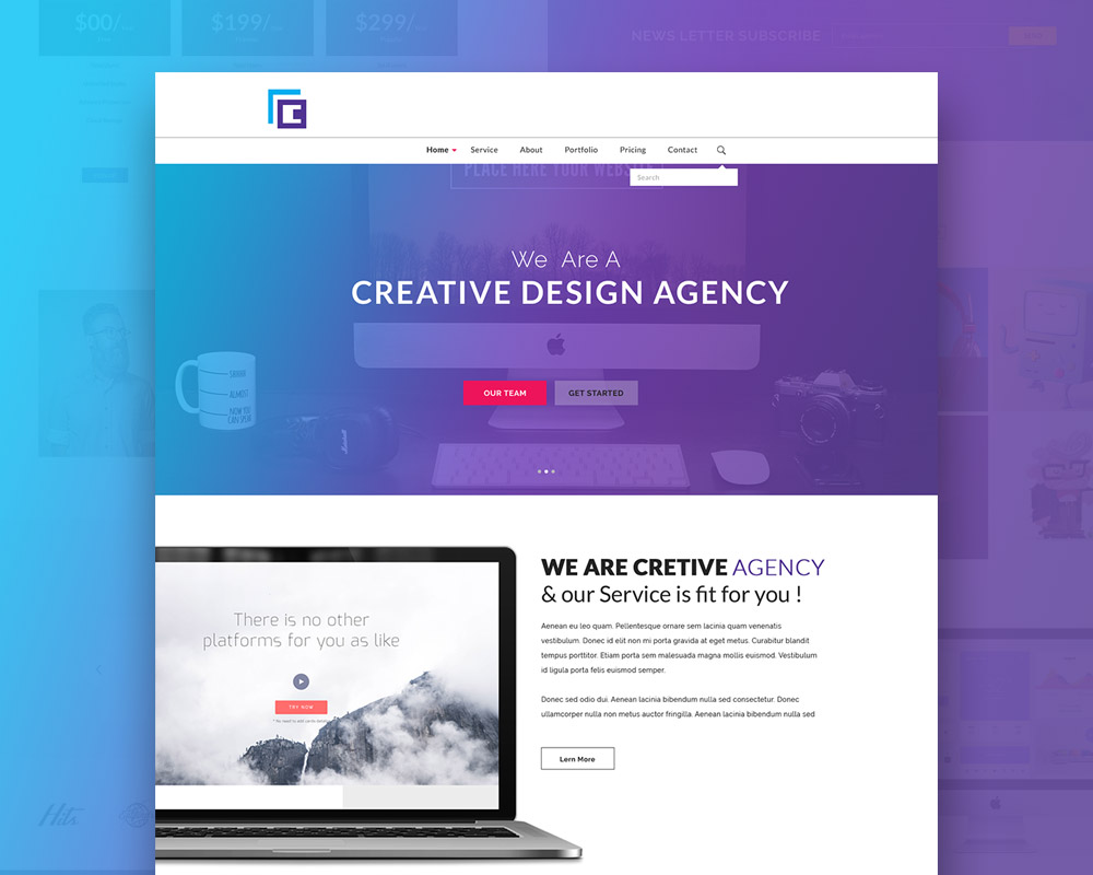 Creative agency website template free psd download for Website templates free download