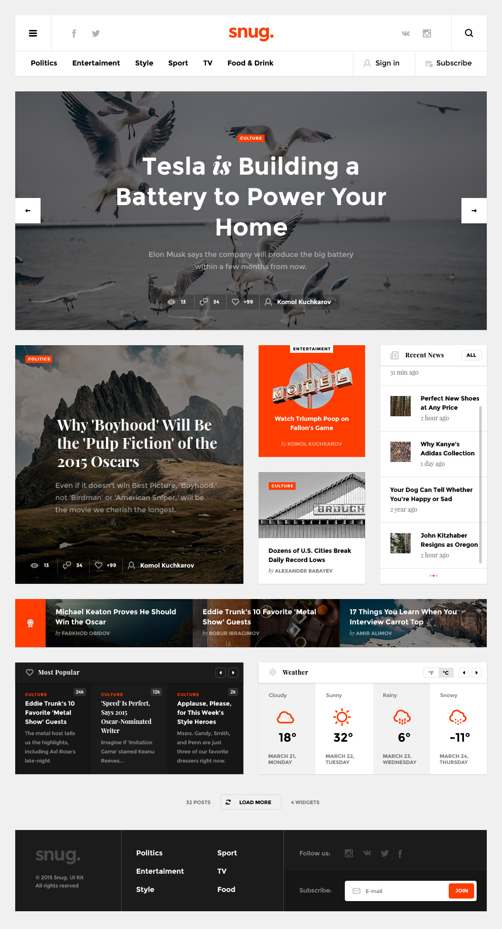Creative Blog Website Template PSD Freebie