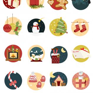 Creative Christmas Icons Set Freebie PSD