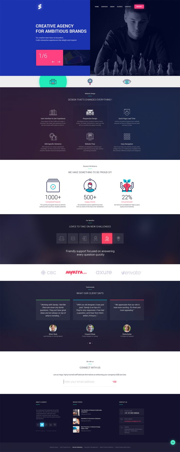 Creative Design Agencies Website Template Free PSD