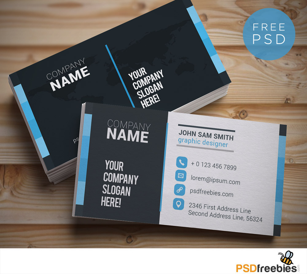 Free Business Card Templates PSD Download PSD - Business card size template