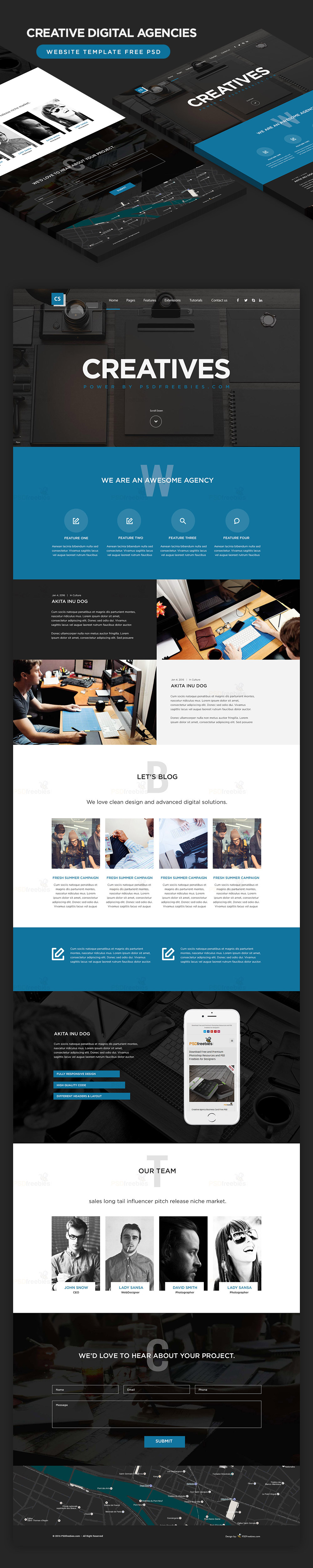 High Quality Free Corporate And Business Web Templates PSD - Business card website template
