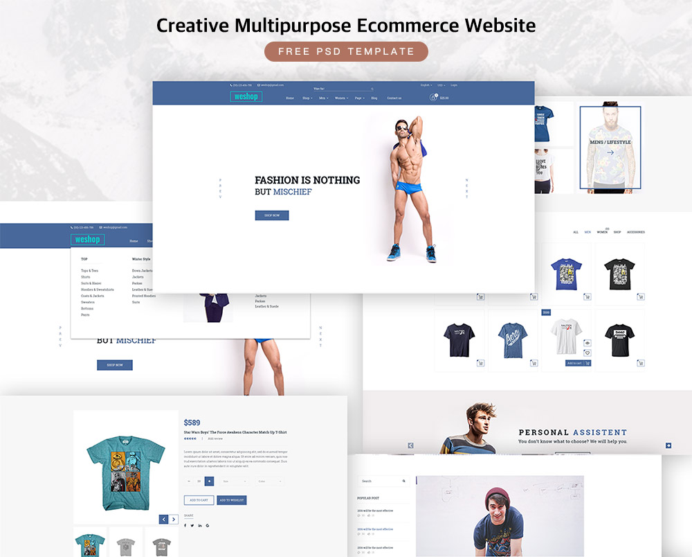 Creative Multipurpose Ecommerce Free PSD Template