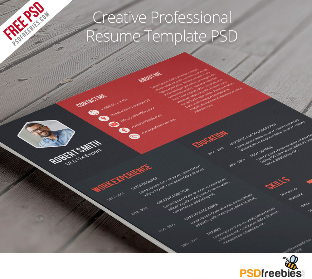 Creative Professional Resume Template Free PSD