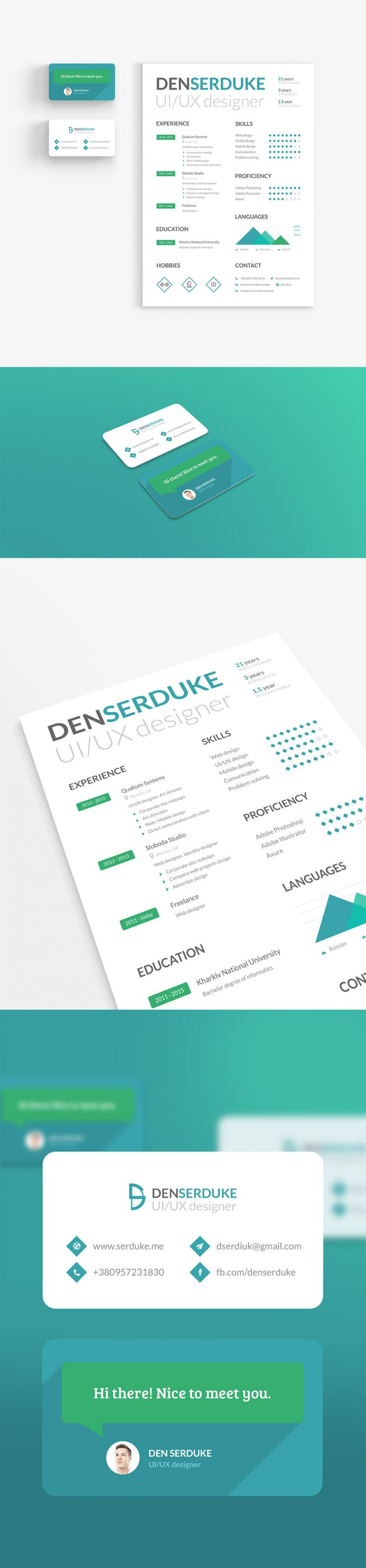 Creative Resume Template and Business Card Identity Free PSD Set