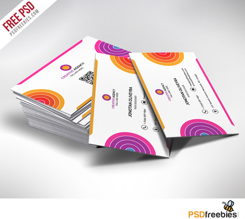 20 free business card templates psd download download psd creative and colorful business card free psd cheaphphosting Images