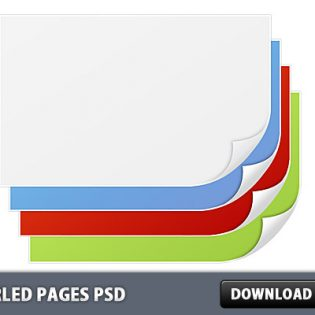 Curled Pages Free PSD File
