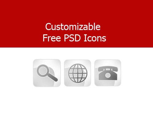 Customizable Free PSD Icons Web Resources, Web 2.0, PSD, Layered PSDs, Icons,