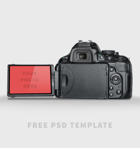DSLR Camera Mockup Free PSD Template tilt Showcase Screen PSD Picture Photography photographer Photo Object Nikon Mockup Mock Freebie Free PSD Free Frame dslr Download demo click canon Camera Black