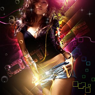 Abstract Dance Girl PSD File