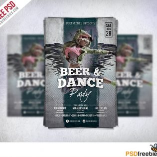Dance Party Flyer Template Free PSD