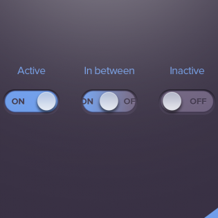 Dark Active Inactive Toggle Button Freebie PSD