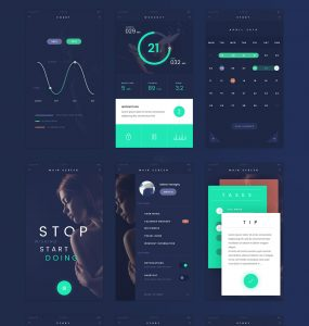 Dark Blue Flat Style Free Mobile App UI Kit PSD