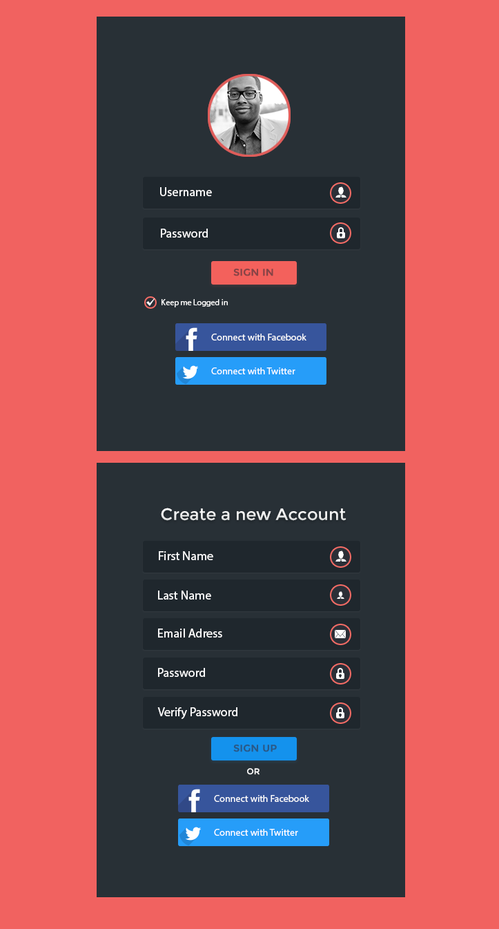 Dark Login and SignUp Panel Set PSD