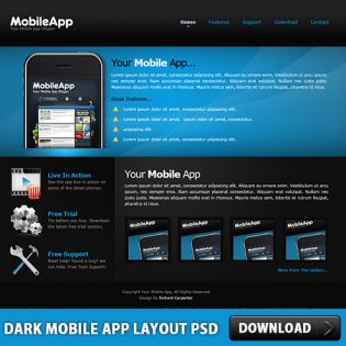 Dark Mobile App Layout Free PSD