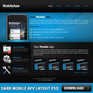 Dark Mobile App Layout Free PSD