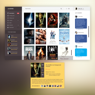 Dark Movie App UI Template PSD