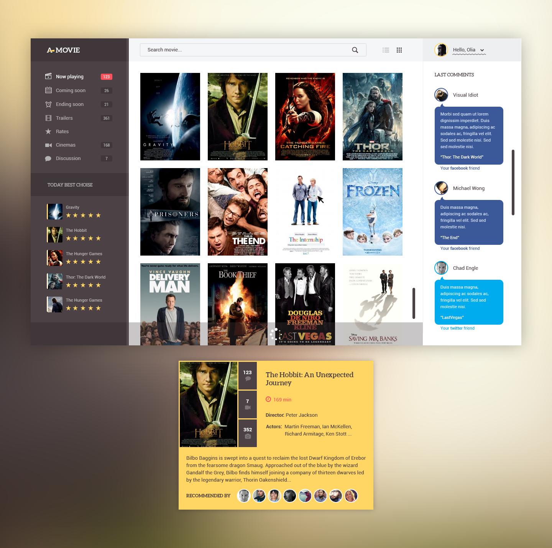 dark movie app ui template psd download