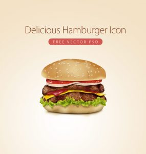 Delicious Hamburger Icon Free Vector PSD Graphic
