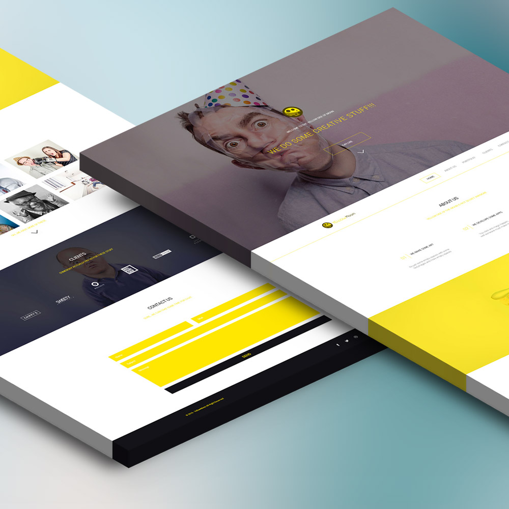 Design agency website landing page free psd download for Design agency