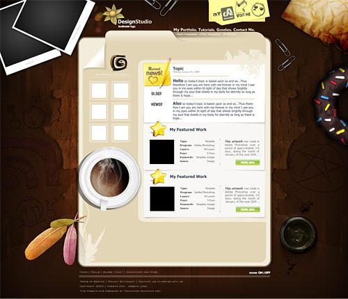 Design Studio Template PSD www, Website Layout, Website, Web Resources, Web Layout, Web, Template, Personal, Objects, Note, Layout, Layered PSDs, Free PSD Template, Free PSD, Feather, Cup, Coffee Cup, Blog,