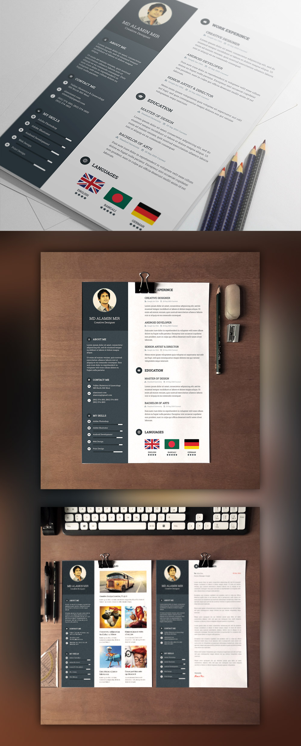 Designer Resume Template With Cover Letter Free PSD Work, Web Designer,  Universal, Unique  Download Free Resume Templates