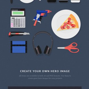 Desk Items Flat Stationary Objects PSD