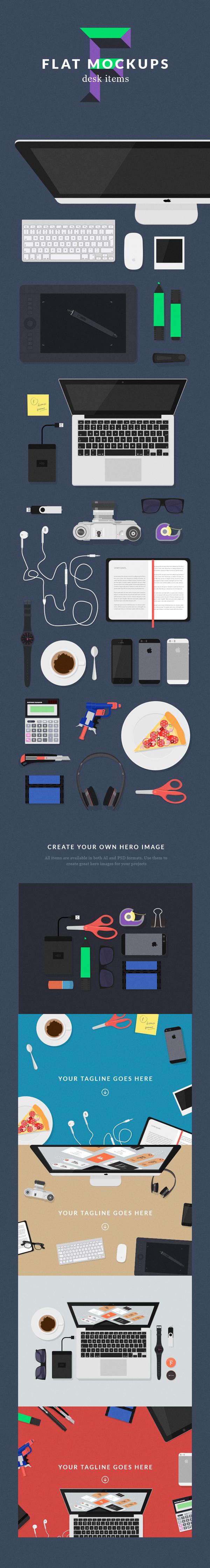 Desk Items Flat Stationary Objects PSD