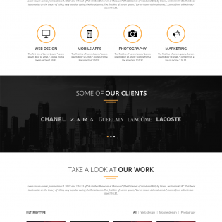 Digital Agency One Page Template PSD