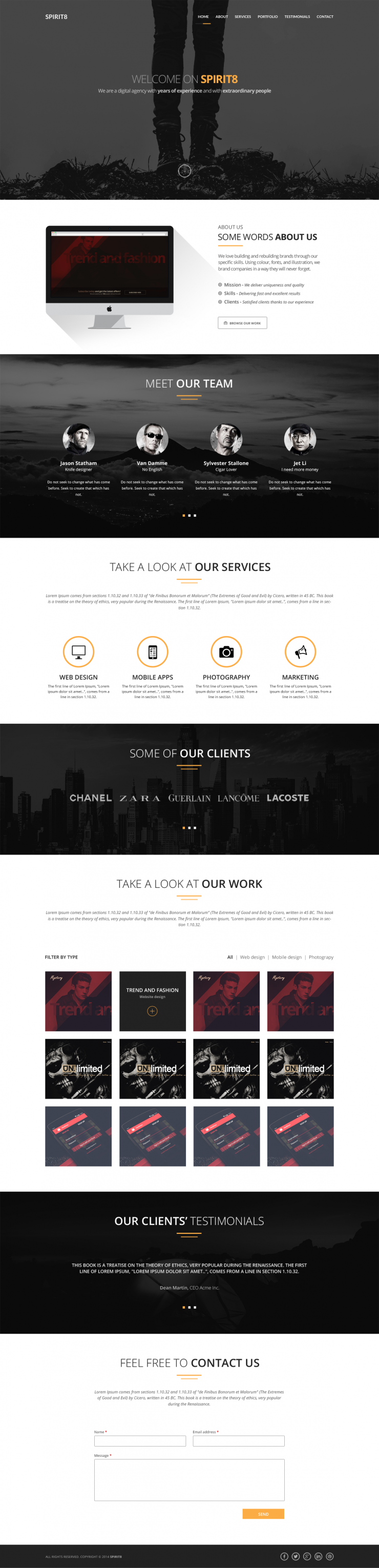 Digital Agency One Page Template PSD www White Website Template Website Layout Website webpage Web Template Web Resources web page Web Layout Web Interface Web Elements Web Design Web User Interface UI Template Single Page Simple Scroll Resources Psd Templates Portfolio Personal one page Fresh flat style Flat Elements Digital Corporate company Clean agancy