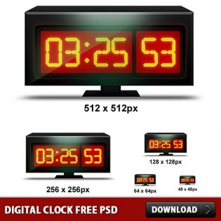 Digital Clock Free PSD