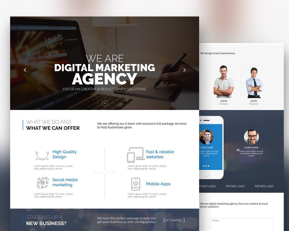 Digital marketing agency website template free psd for Home design website free
