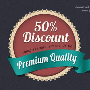 Discount Coupon Web Badge Design PSD