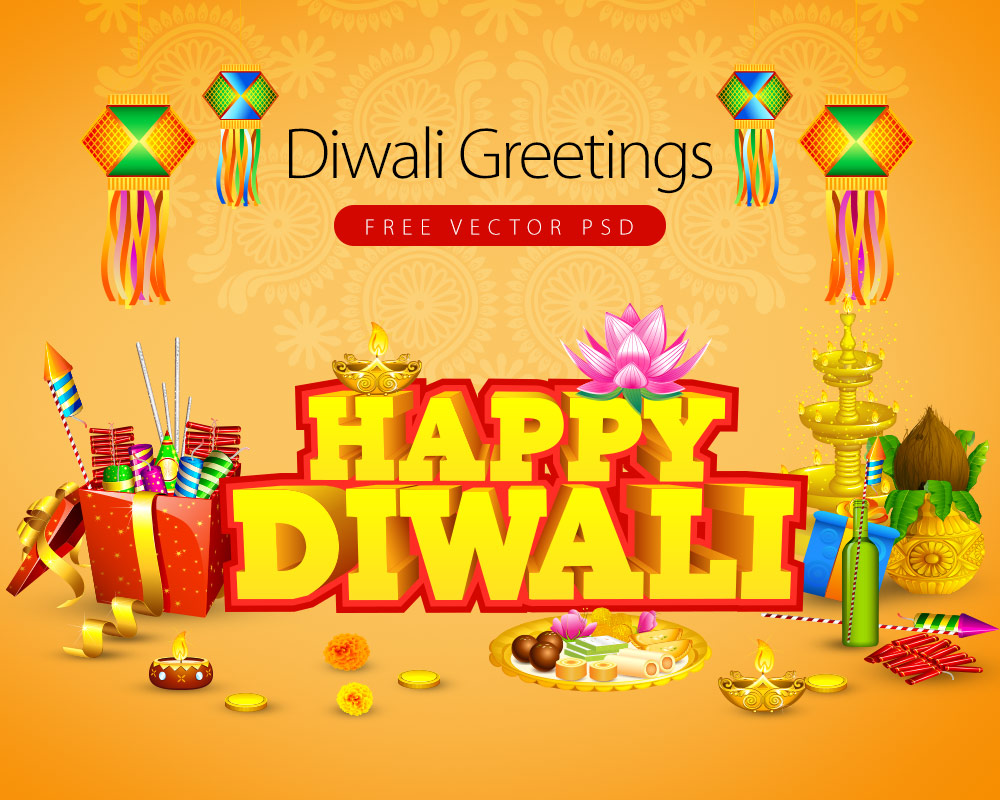 Diwali Greetings Card Free Vector Psd Graphics Download Psd