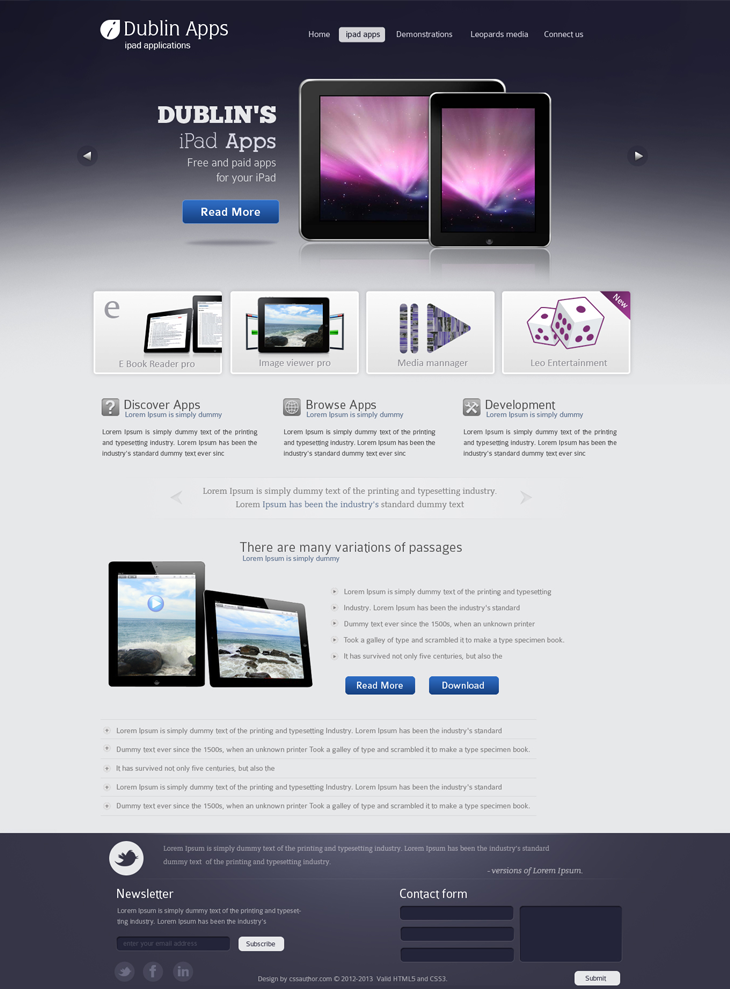 Dublin iPad & iPhone Apps Web Template PSD Download - Download PSD