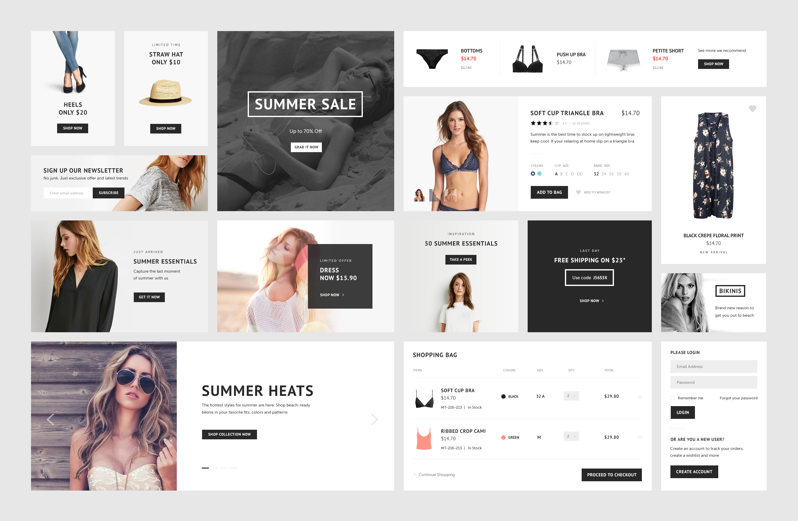 ECommerce Website Widget UI Kit PSD Freebie