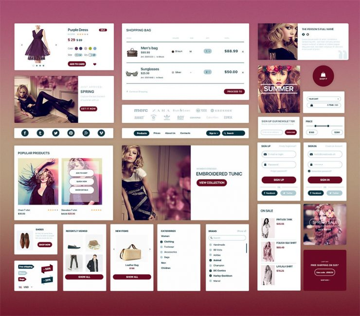 Elegant Fashion eCommerce UI Kit Free PSD