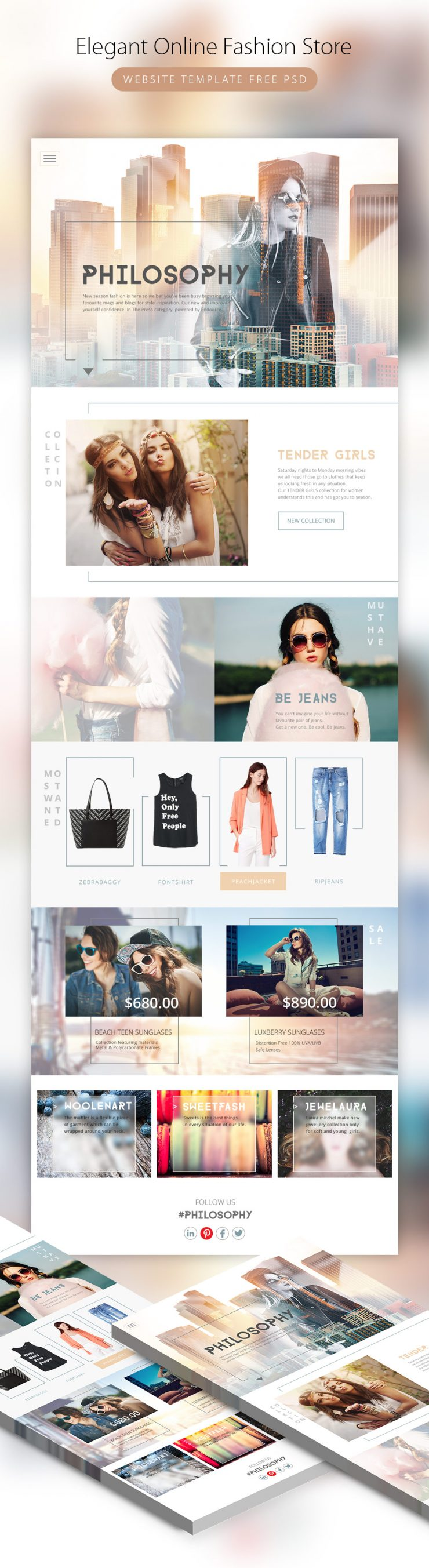 Elegant Online Fashion Store Website Template PSD