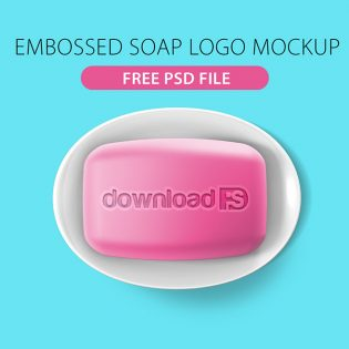 Embossed Soap Logo Mockup PSD