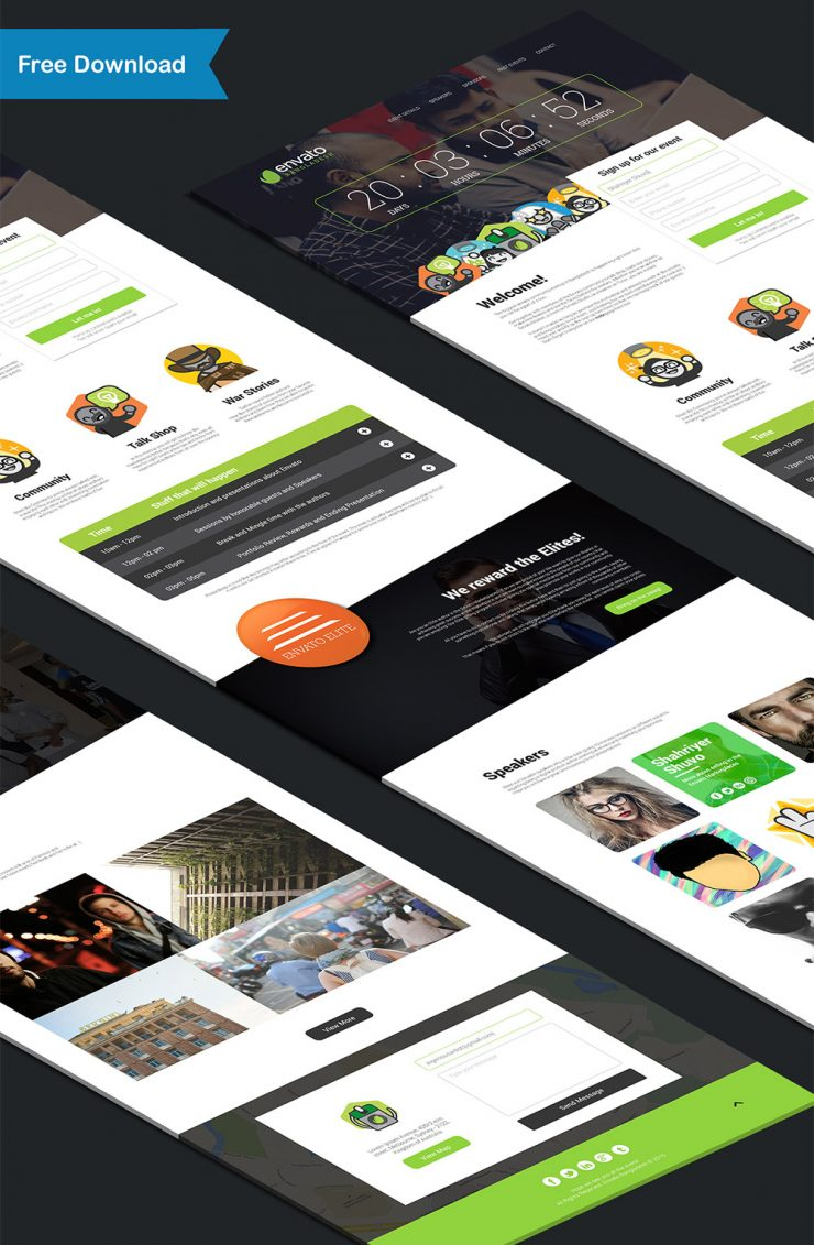 Event and Conference Landing Page Free PSD Template