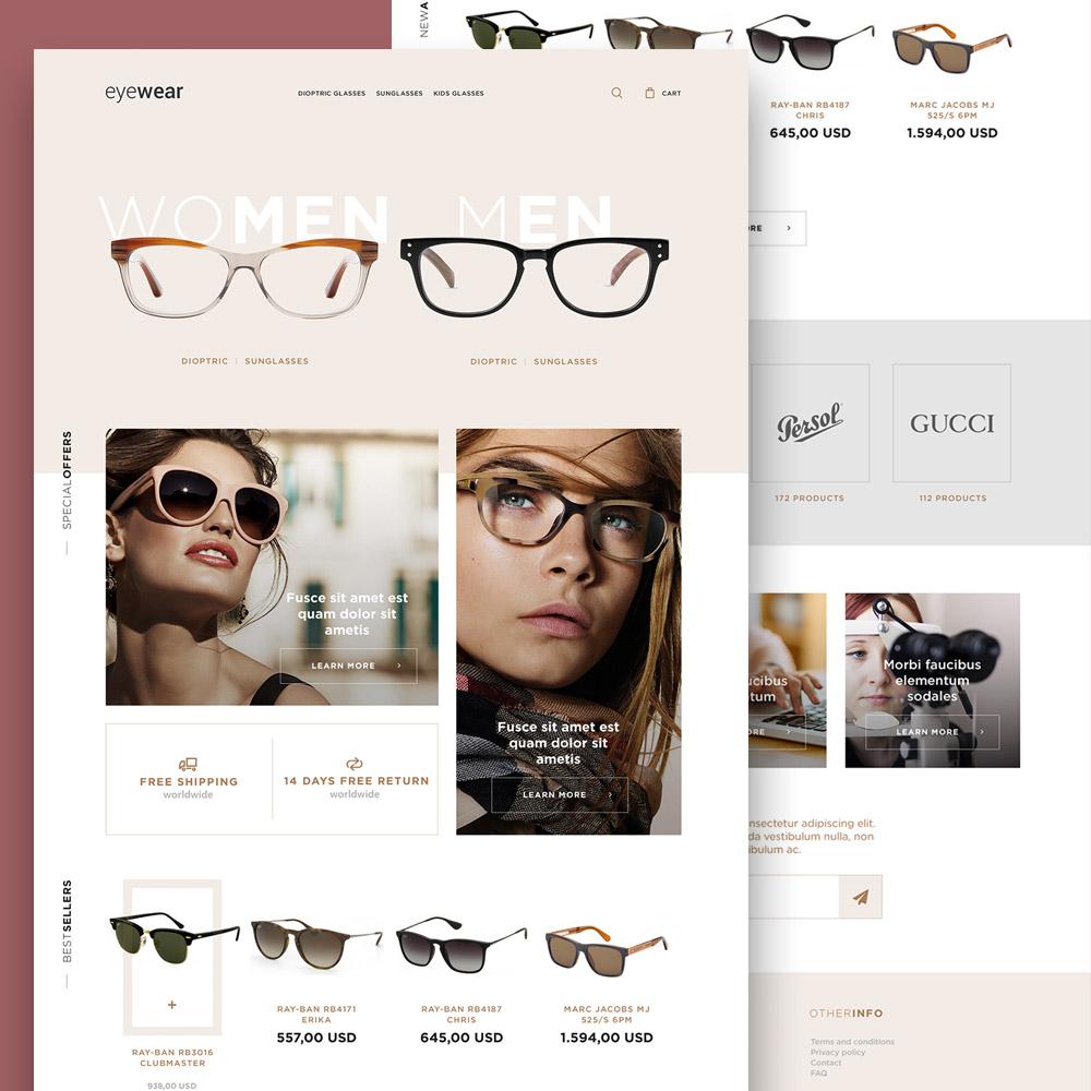 Eyewear Sunglasses Store Website Template Free PSD - Download PSD