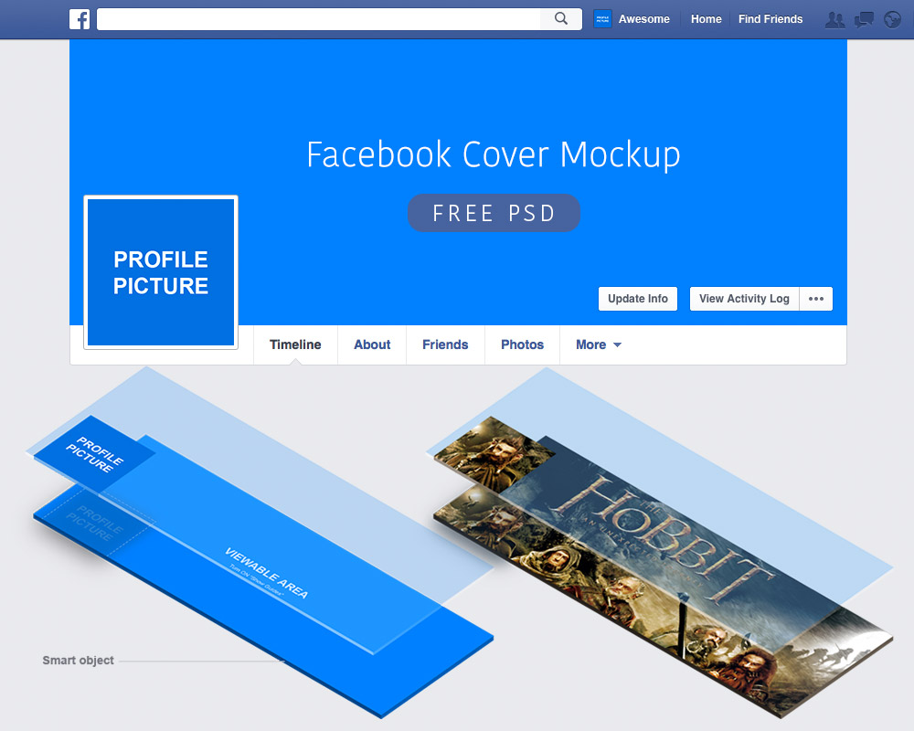 Facebook Cover Mockup Free PSD - Download PSD