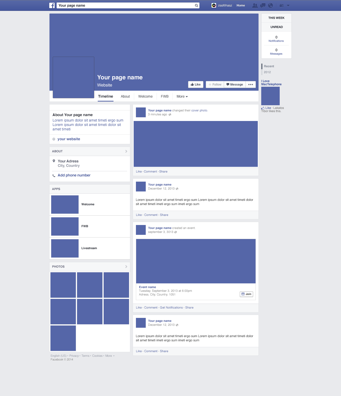 Facebook Page Redesign 2014 Mockup Psd Download Download Psd